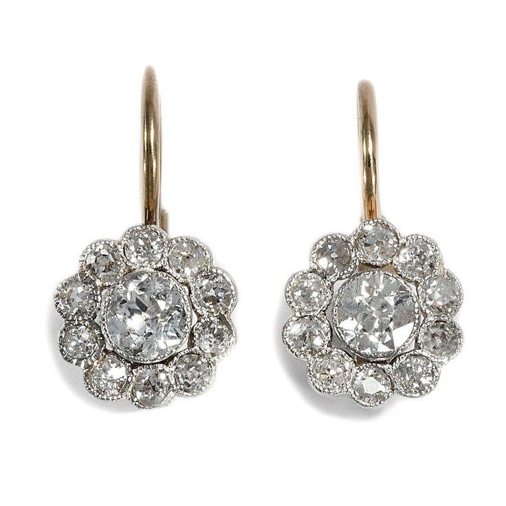 Belle Époque um 1900: 1,20 ct Altschliff Brillant Ohrringe Platin & Gold Diamant