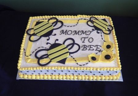 Baby Shower, Mommy to Bee. Frosting covered with fondant bees
