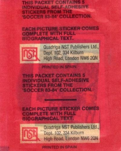 Soccer Stars '83-'84 (Packet Rear)