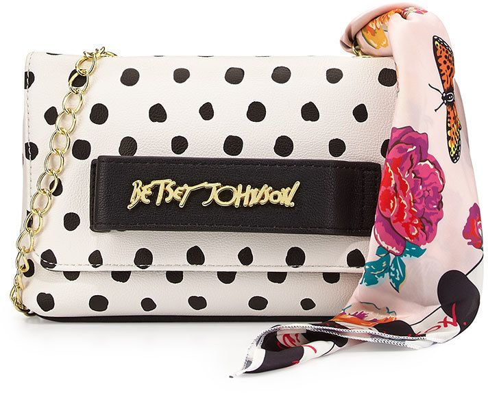 $38, Beige Polka Dot Leather Crossbody Bag: Betsey Johnson Ladies Who Lunch Crossbody Bag Dot. Sold by Last Call by Neiman Marcus. Click for more info: https://lookastic.com/women/shop_items/322072/redirect
