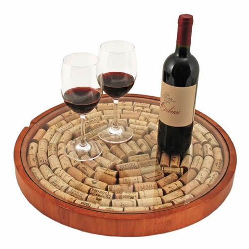True Fabrications Lazy Susan with Wine Corks. This is a cute gift idea for wine lovers.