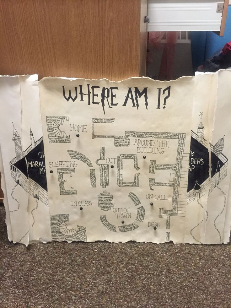 My RA Harry Potter themed where am I board! This would be so cool if I actually took the time to make it.