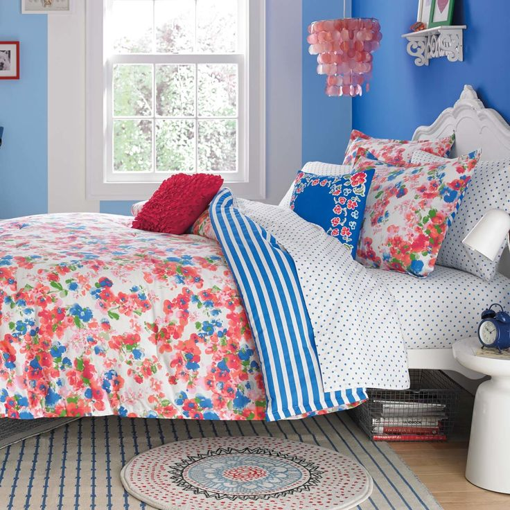 """Features:  -Rosie Posie collection.  -Material: 100% Cotton.  Product Type: -Throw pillow.  Color: -Pink; Blue.  Style: -Contemporary.  Size: -16"""" Square.  Shape: -Square.  Cover Material: -100% Cotto"""