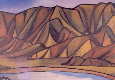 Colin McCahon, Ligar Bay (1948).  Oil on canvas, 876 x 1259 mm.