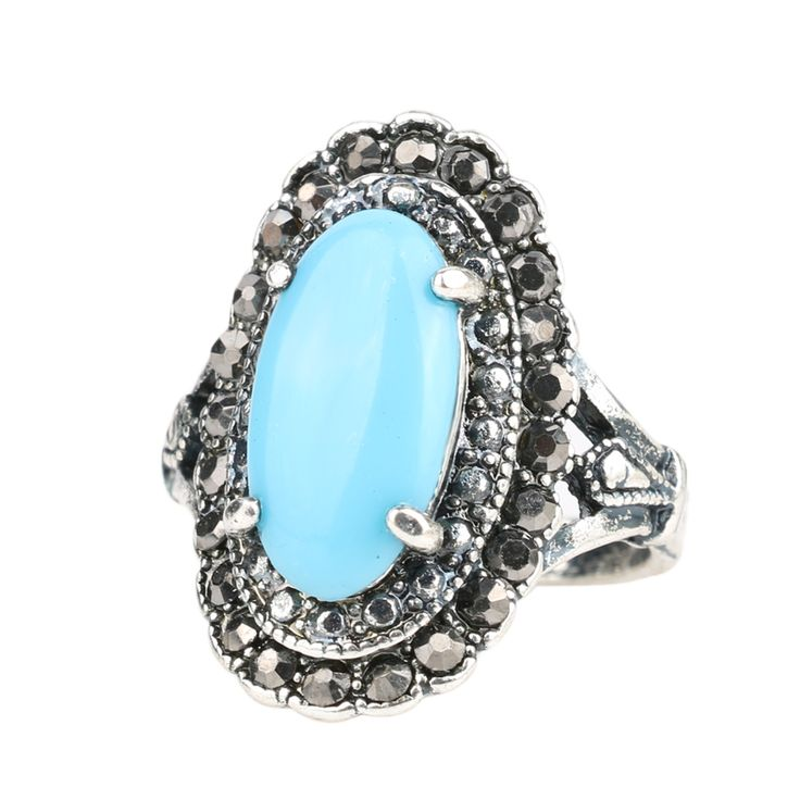 Hot 2015 Fashion Gorgeous Antique Silver Ring Green Agate Resin Punk Rings For Women Size 10 Free Shipping