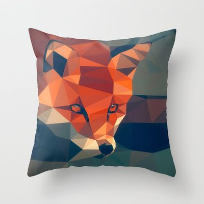 Triangular fox Throw Pillow by Matěj Kašpar Jirásek - $20.00