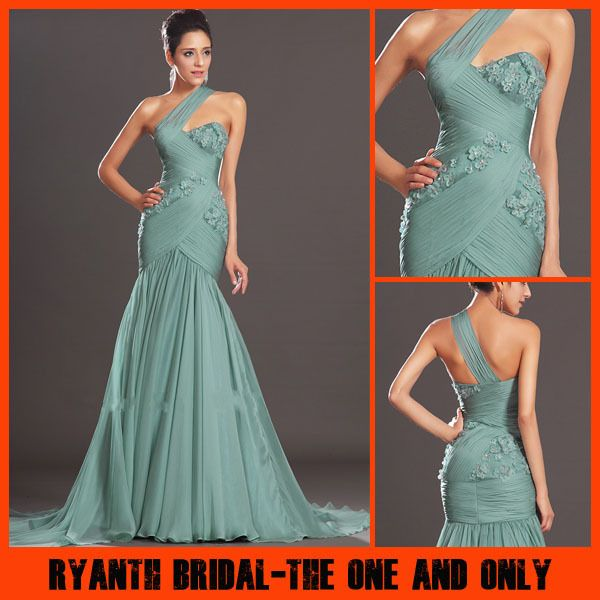 Custom Made Color Size 2014 One Shoulder Vestidos De Fiesta With Beaded Flower Evening Dresses Long Prom Dress/Gown New Fashion US $87.00