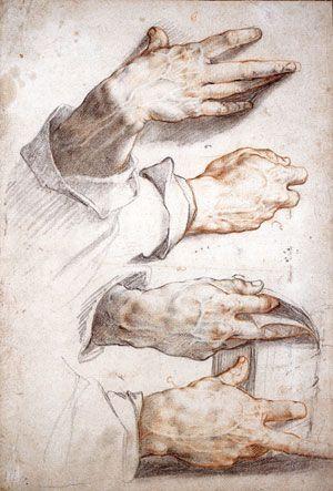 Hendrick Goltzius: Four Studies of Hands (Städelsches Kunstinstitut, Frankfurt, c. 1588–1589) by flavflo