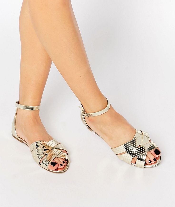 metallic gold crossover sandals