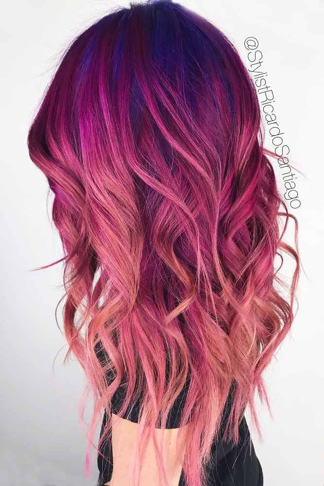 Color Hairstyles Cool 152 Best Pink And Purple Hair Images On Pinterest  Hair Coloring