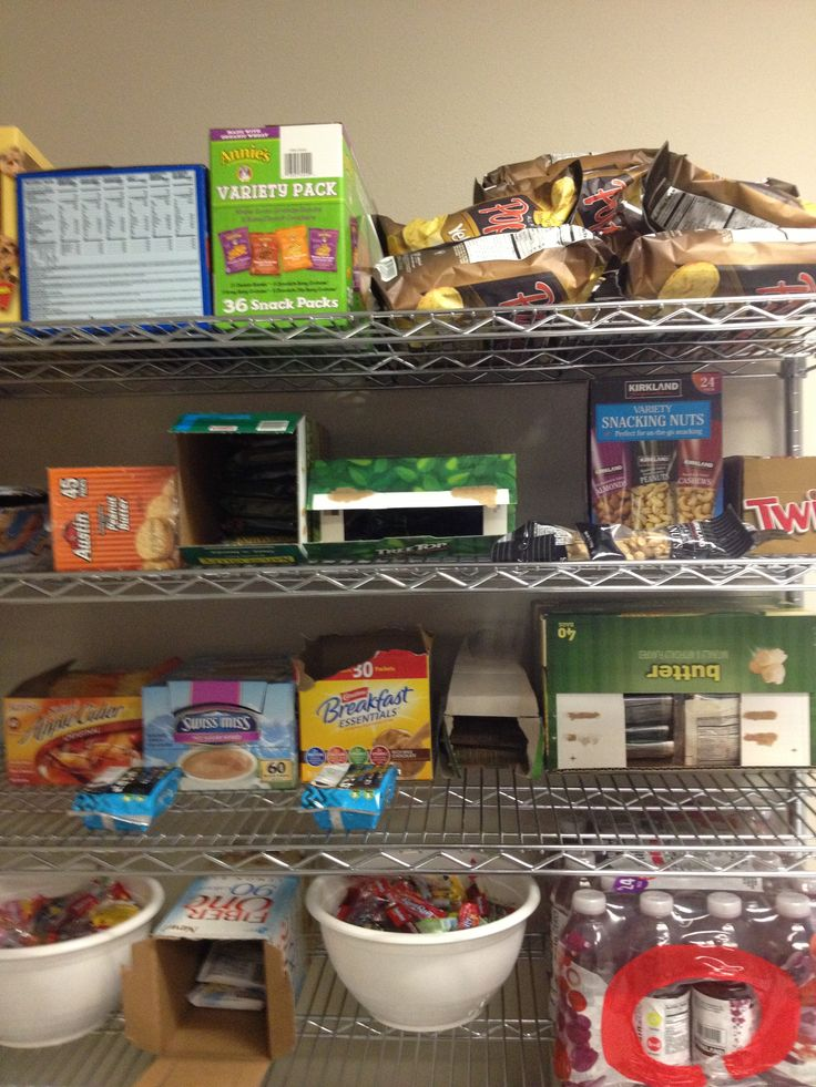 Just one of the reasons this is a great place to work...our break room is always stocked with free goodies. Happy employees = great products!