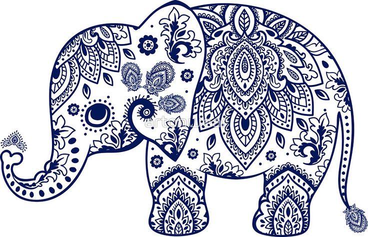 Blue Floral Elephant Illustration by artonwear