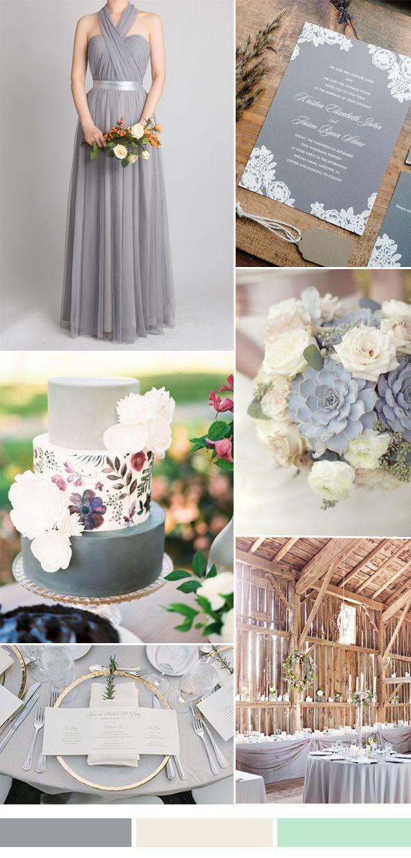 šedá s bílou a světle zelenou gray wedding color ideas for fall winter wedding 2016-2017