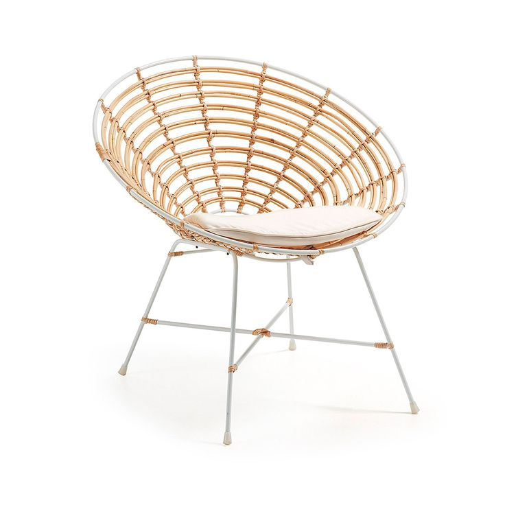 Rattan armchair with white painted structure. Removable cushion upholstered in ecru color cotton.
