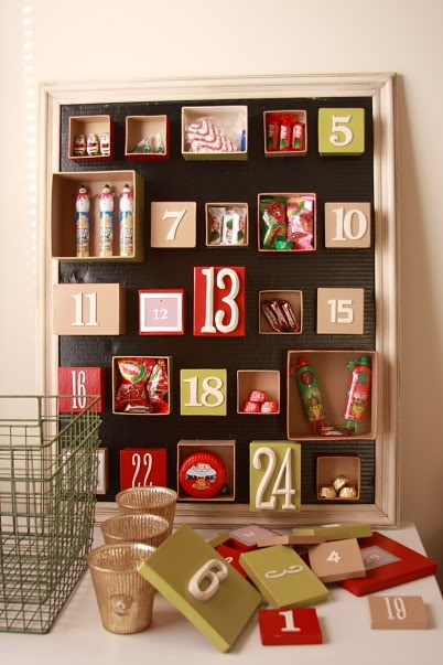 advent calendar - what a great idea! really cute for kids.... or kid like adults (cough cough)