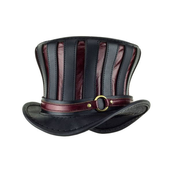 "#steampunk ""Mad Hatter"" Black And Red Flared Tall Top Hat With Red Ring Band"