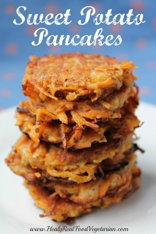 Sweet Potato Pancakes @ Healy Eats Real. These paleo, gluten free latkes are great for hanukkah or any occasion!