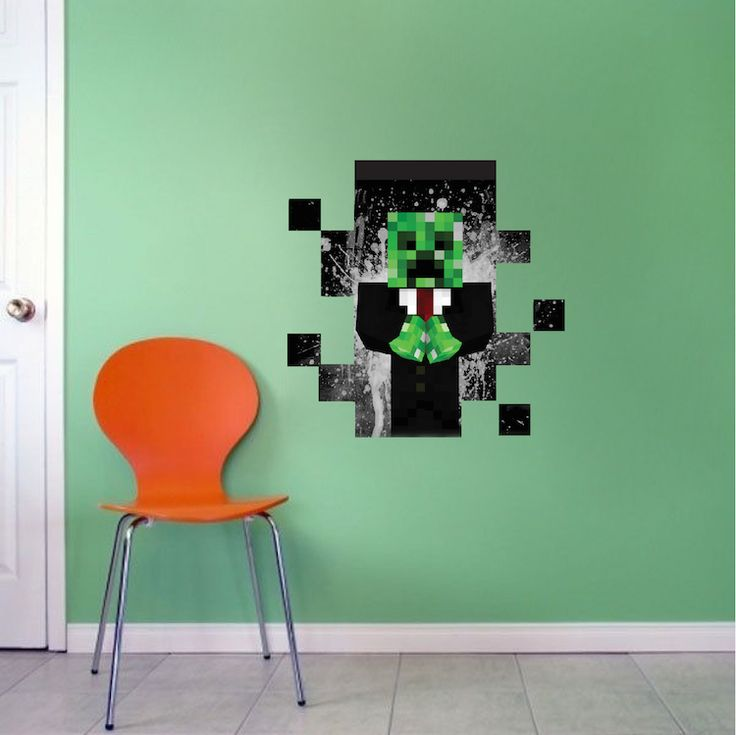 Minecraft Creeper Suit In Wall Decal   Minecraft Decal   Video Game Wall  Decal Murals |