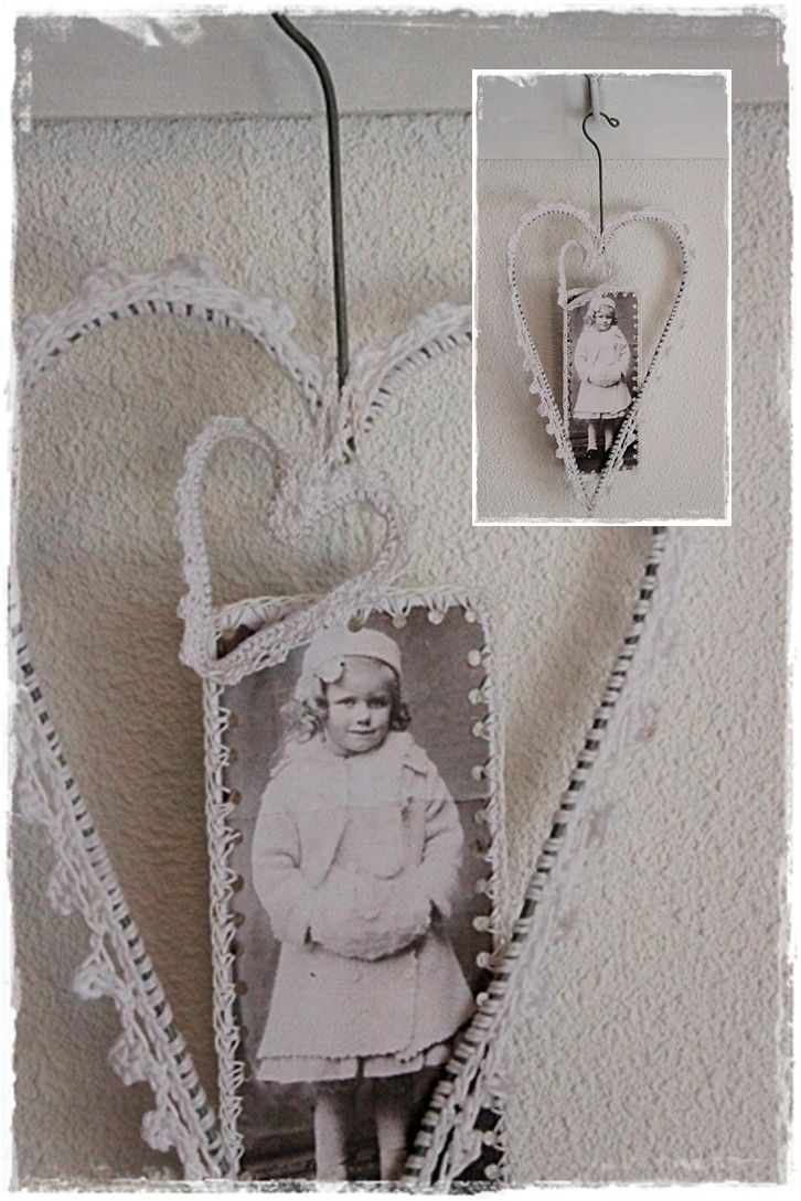Mooi omgehaakt hart met label van oude foto