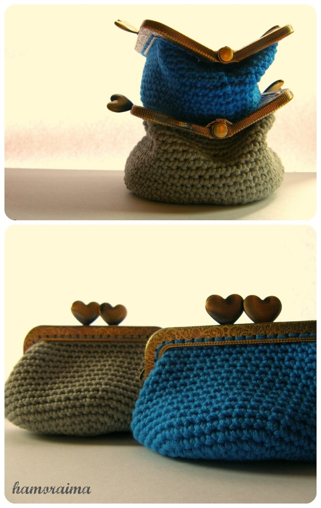Crochet purses with kiss lock