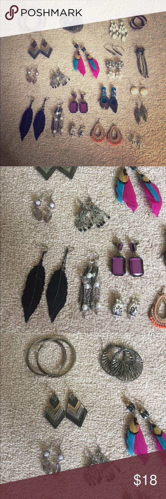 Costume Earring Bundle 21 sets of earrings! All good/great condition, purchased from varied locations (Express, White House Black Market, Charlotte Russe, etc.) Accessories
