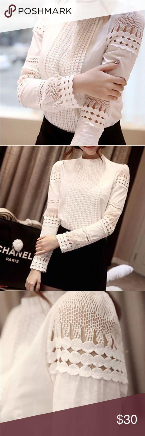 Fit USA Meduim USA  Lace Crochet High Collar XXL Fits more like Medium USA  Fashion Women New Lace Crochet High Collar Blouse Casual Long-sleeve Shirt Tops XXL Tops Blouses