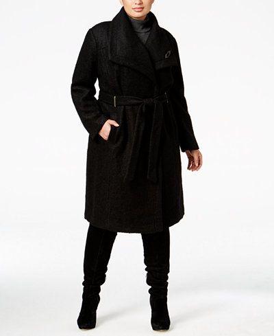 Ivanka Trump Plus Size Asymmetrical Walker Coat with Brooch