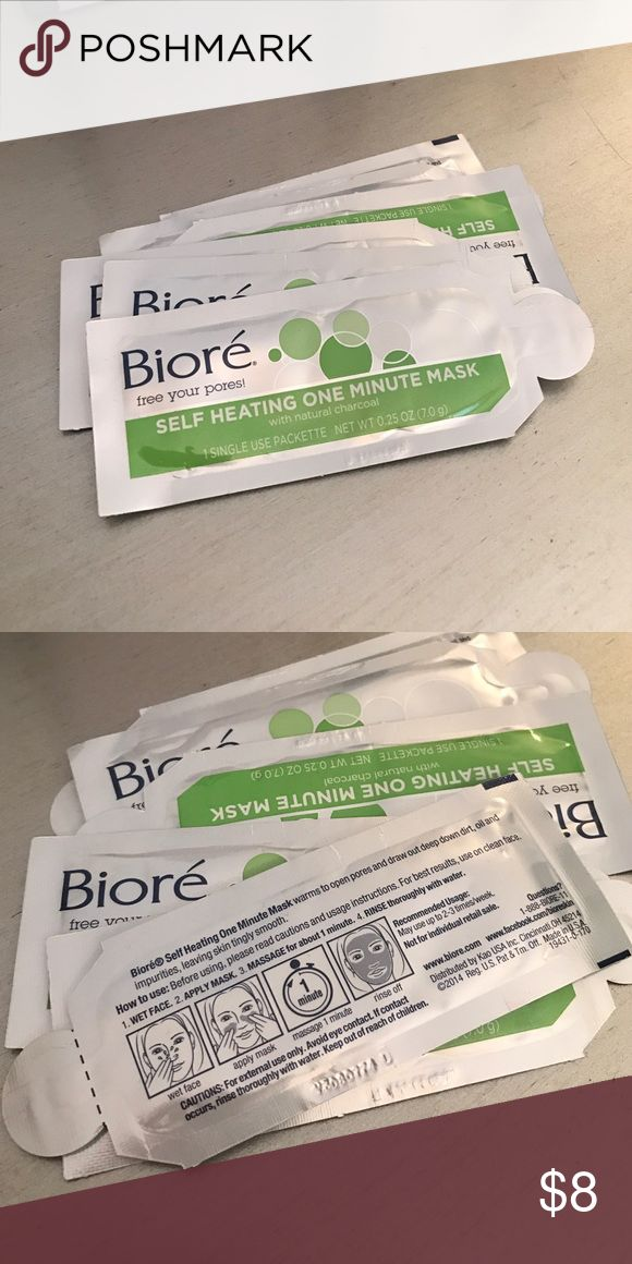 Biore self heating one minute mask. Charcoal mask 6 sample sizes Makeup Face Primer