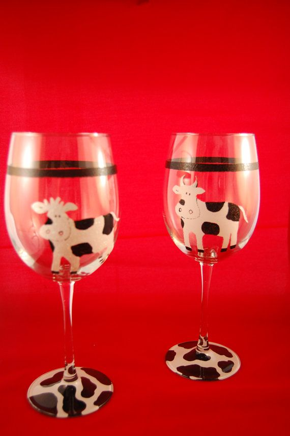 Whimsical cows wine glasses awesome cow and glasses for Type of paint to use on wine glasses