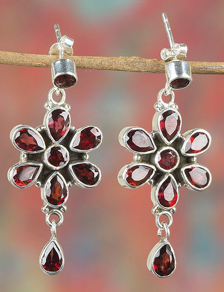 Chandelier Earrings – Sterling Silver Faceted Garnet Earring BJE-348-GRC – a…