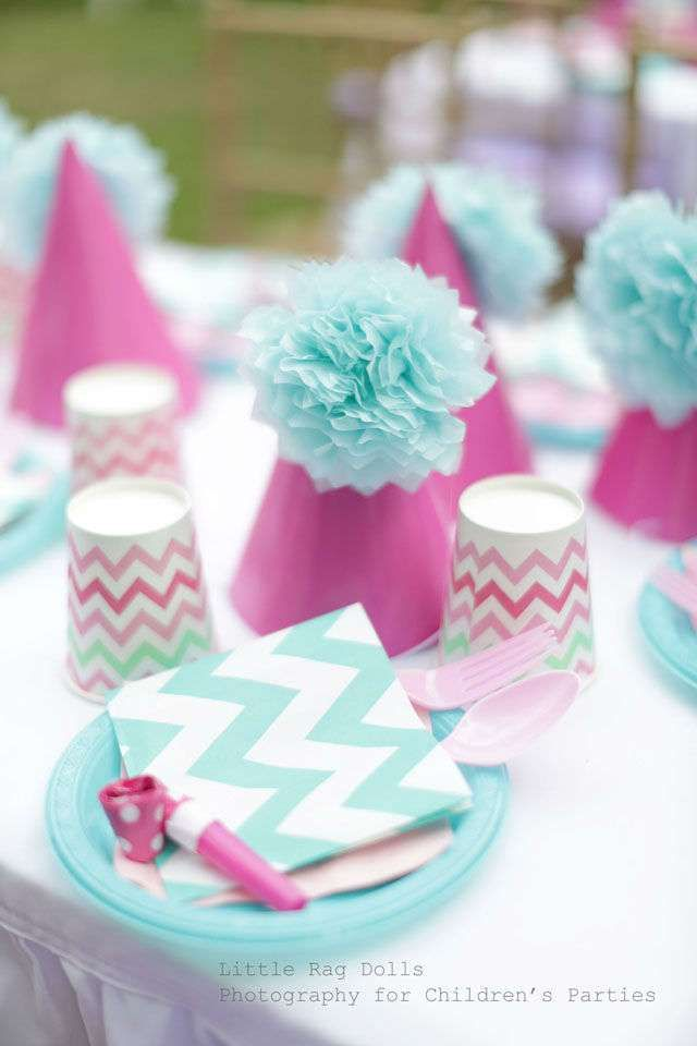 Chevron place settings at a Mermaid Birthday Party! See more party ideas at CatchMyParty.com!