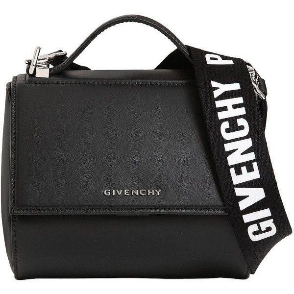 Givenchy Women Mini Pandora Box Logo Strap Leather Bag ($1,620) ❤ liked on Polyvore featuring bags, handbags, shoulder bags, bolsas, givenchy, black, bolsos, real leather purses, leather shoulder bag and leather handbags