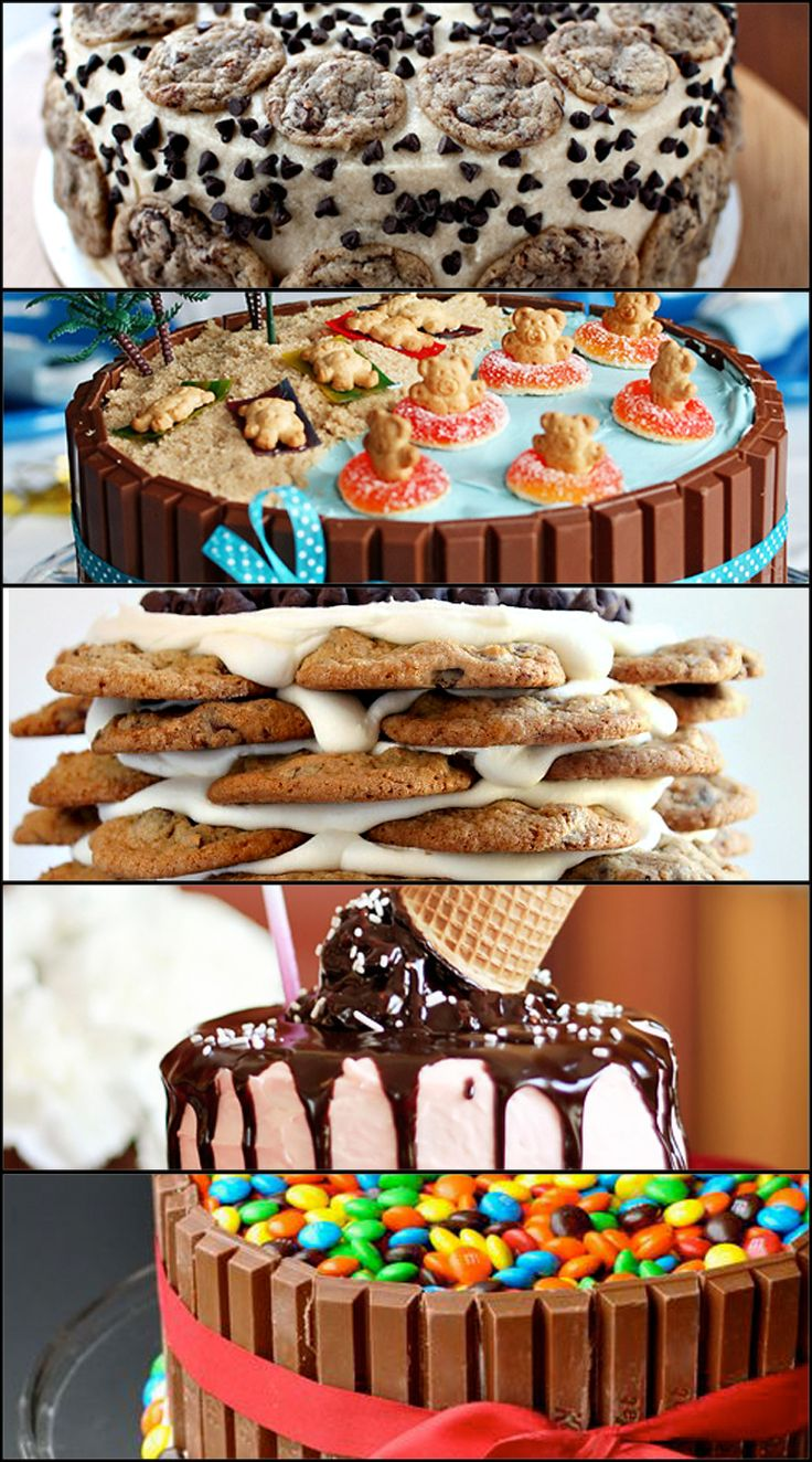 Easy Cake Decorating Ideas That Require No Skill - teddy graham beach cake, kit kat cake, melting ice cream cone cake, and a stacked chocolate chip cookie cake!
