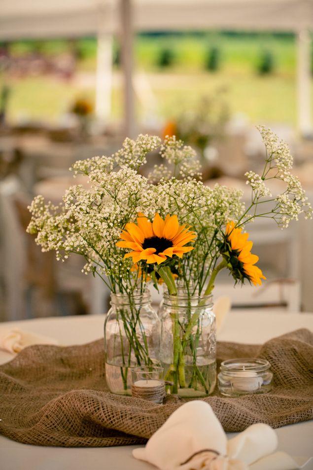 Wedding - Casamento - Arranjo simples para mesa dos convidados