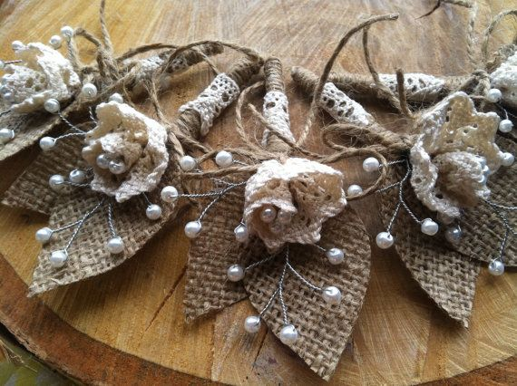 5 Burlap Boutonnieres with Cotton Lace Flowers and por fflower