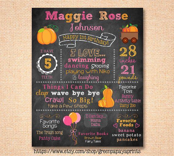 Girl's First Birthday Chalkboard Sign - Printable Digital File Customized - Milestones Sign - Party Decoration - Pumpkin - October - Girl - October Birthday