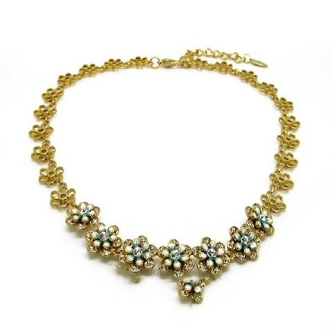 Gorgeous Mad Men Style Flower and Gems Necklace - 18K GP   $47.99