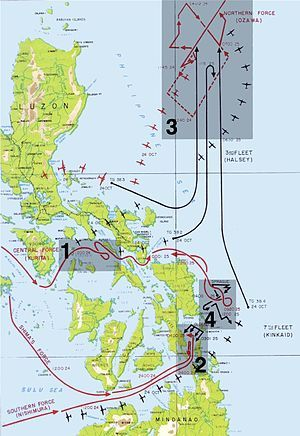 "The Battle of Leyte Gulf, also called the ""Battles for Leyte Gulf"", and formerly known as the ""Second Battle of the Philippine Sea"", is generally considered to be the largest naval battle of World War II and, by some criteria, possibly the largest naval battle in history.[2]  It was fought in waters near the Philippine islands of Leyte, Samar from 23–26 October 1944, between combined US and Australian forces and the Imperial Japanese Navy. On 20 October, United States troops invaded the…"