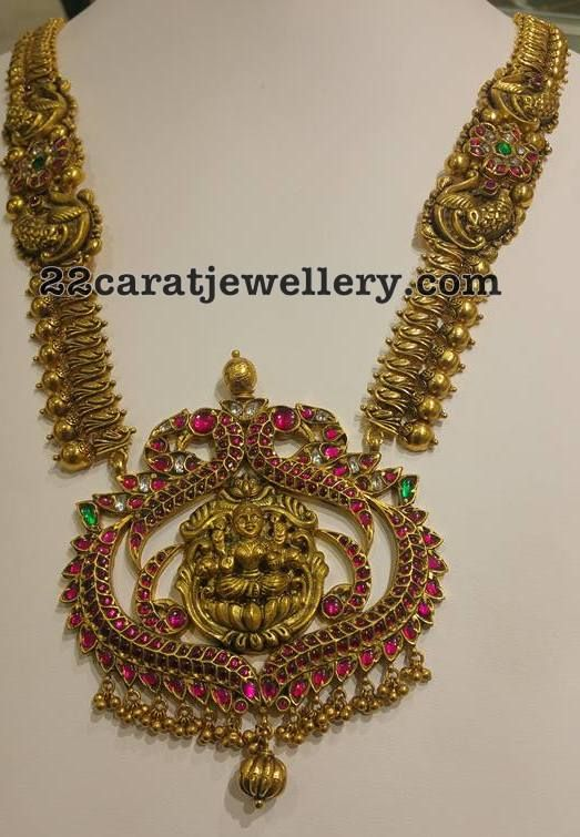 Antique Long Chain Peacock Lakshmi - Jewellery Designs