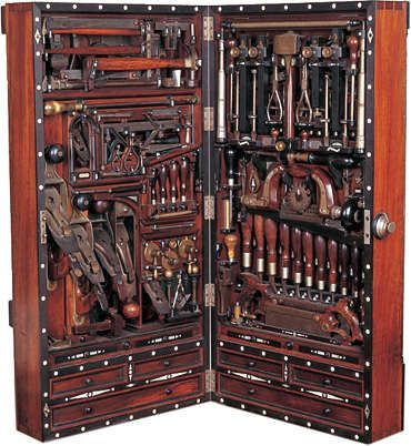 Studley Tool Chest. Henry O. Studley (1838-1925) was an organ and piano maker, carpenter, and mason.  He is best known for creating the so-called Studley Tool Chest, a wall hanging tool chest which cunningly holds some 300 tools in a space that takes up about 40 inches by 20 inches of wall space when closed.