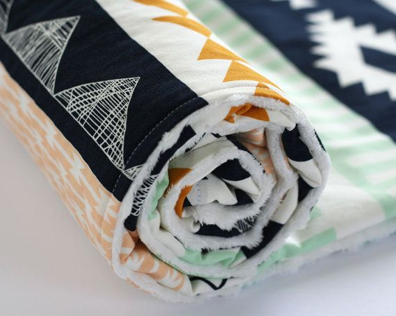 Arizona Aztec Minky Baby Blanket, Fitted Crib Sheet, Changing Pad Cover, Peach Gold Mint Navy Nursery Bedding, Arrows Arid Horizon sur Etsy, $50.00 CAD