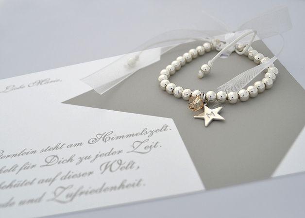 Namensarmband ♥ Glücks-Stern-Anhänger ♥ silber-Perlen: als Gastgeschenk, für Brautjungfern oder Brautmutter