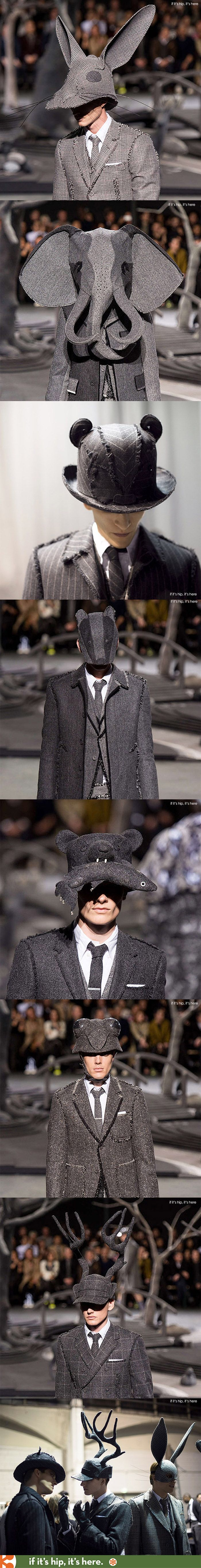 Animal Hats for Thom Browne's 2014 Fall Winter Collection  by milliner Stephen Jones