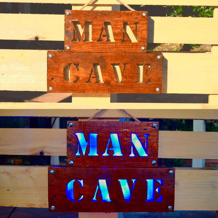 Man Cave Wood Sign with LED Lights. Made from Recycled Wood Pallets #mancave #mancavedecor #mancavewoodsign