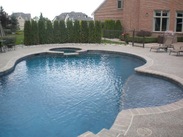 gunite pool designs | pool type freeform gunite pool spa with raised wall size 800 square ...