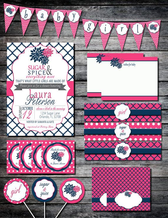 Diy Party Package For Baby Shower Navy And Pink Baby