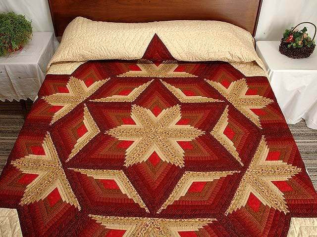 Red and Gold Diamond Star Log Cabin Quilt Photo 1