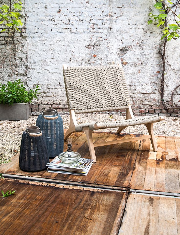Lage, brede tuinstoel - Wide rope lawn chair - Glass candle jar - #WoonTheater