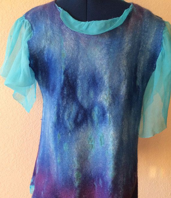 Felted top wool and silk top women's top felted by FancyFancies