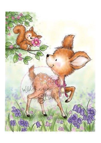 Wild Rose Studio Clear Stamp Squirrel on Branch-Wild Rose Studio-16146-30